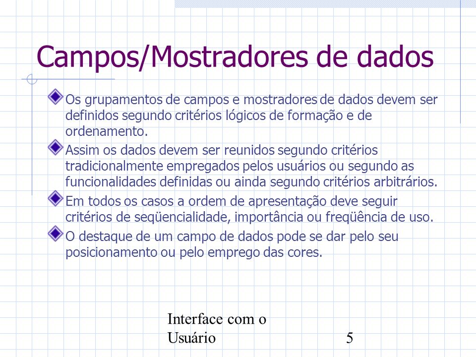Campos/Mostradores de dados