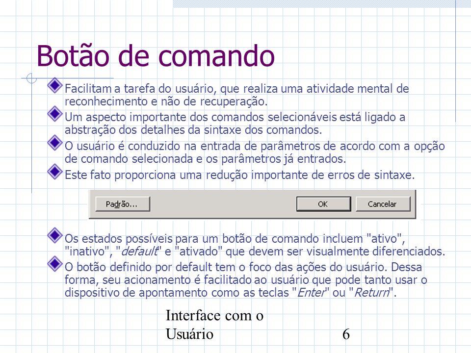 Botão de comando Interface com o Usuário