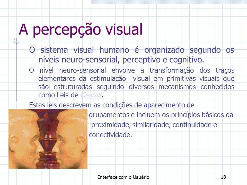 A percepção visual O sistema visual humano é organizado segundo os níveis neuro-sensorial, perceptivo e cognitivo.