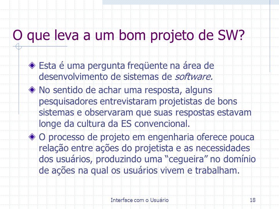 O que leva a um bom projeto de SW