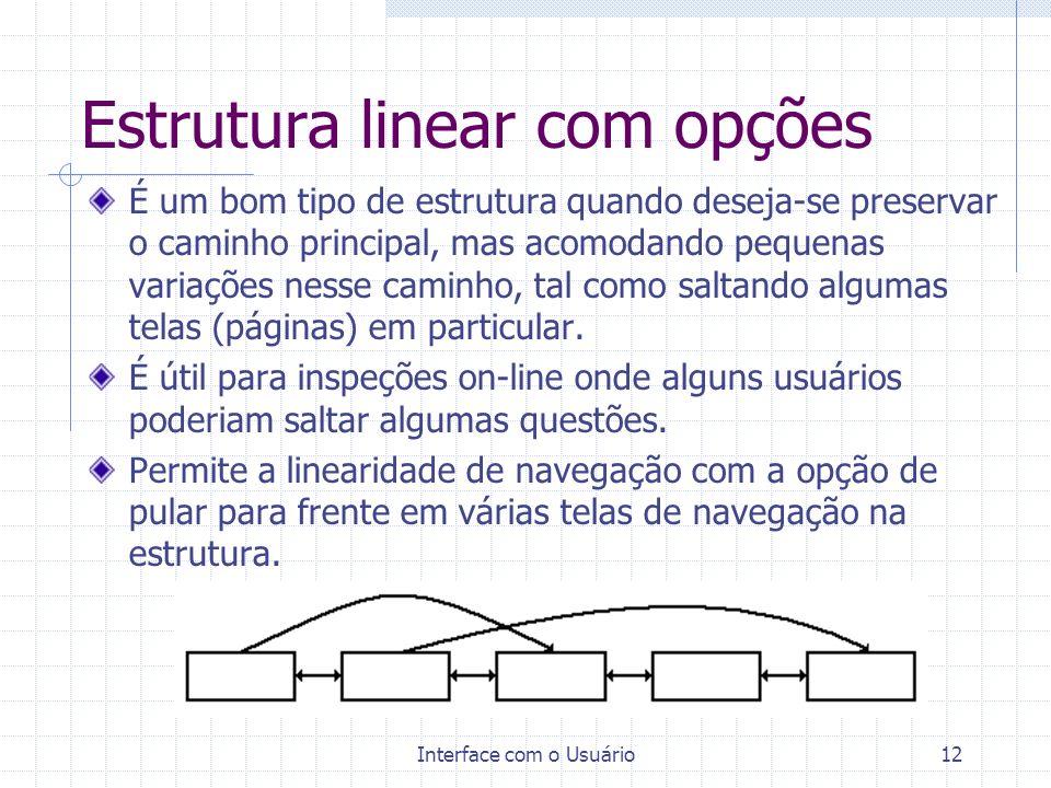 Estrutura linear com opções