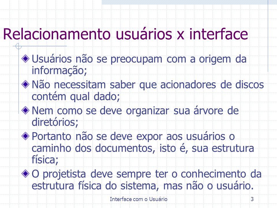 Relacionamento usuários x interface