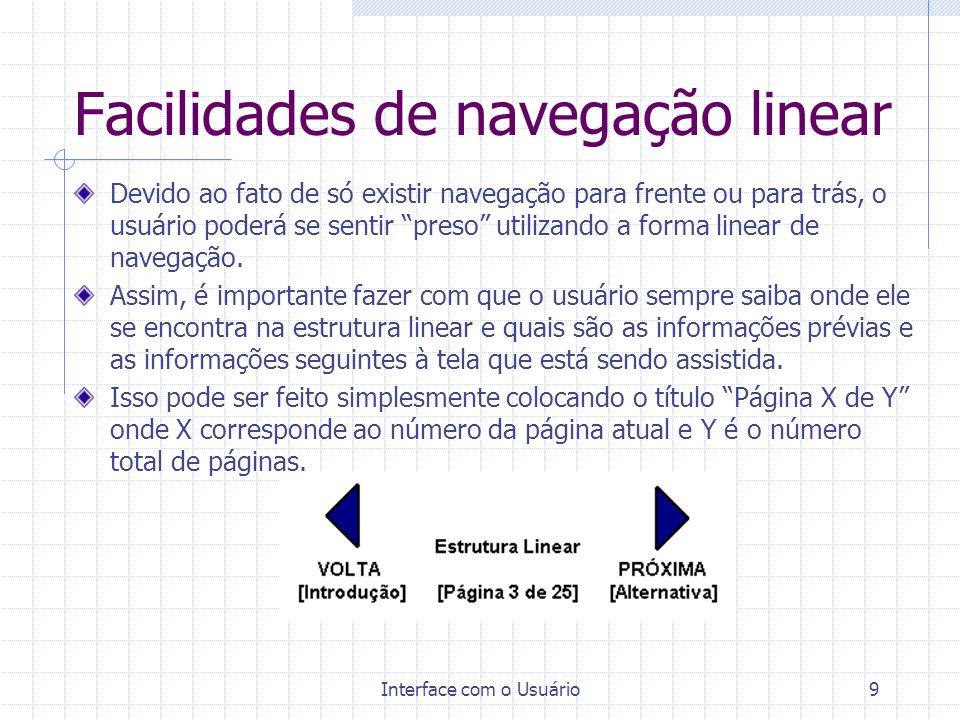 Facilidades de navegação linear