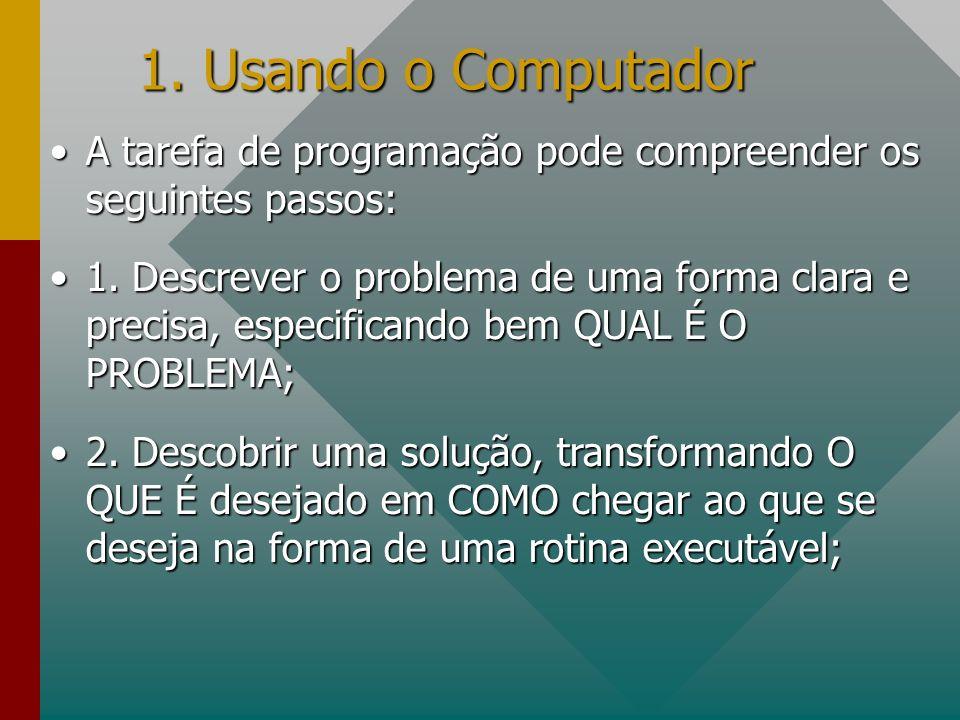 1. Usando o ComputadorA tarefa de programação pode compreender os seguintes passos: