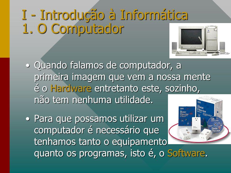 I - Introdução à Informática 1. O Computador