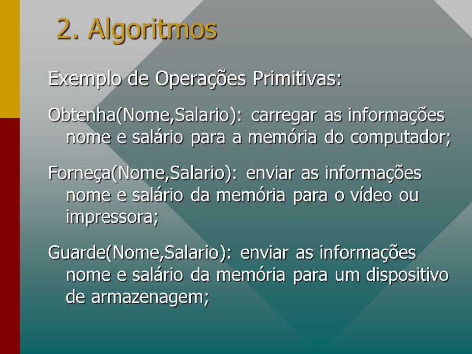 2. Algoritmos Exemplo de Operações Primitivas: