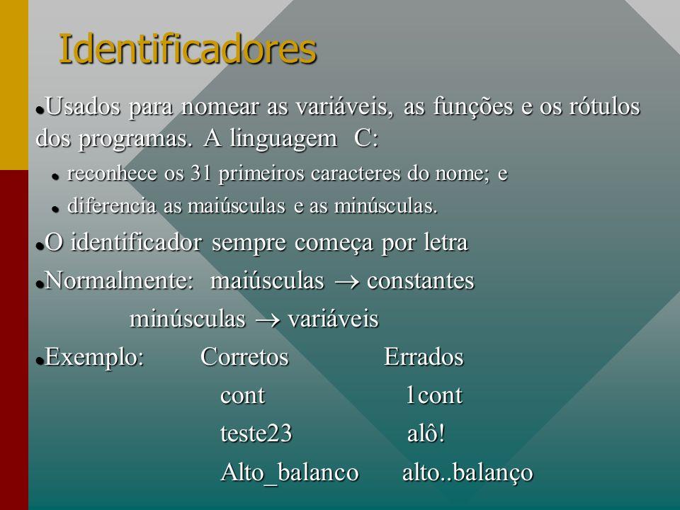Identificadores Usados para nomear as variáveis, as funções e os rótulos dos programas. A linguagem C: