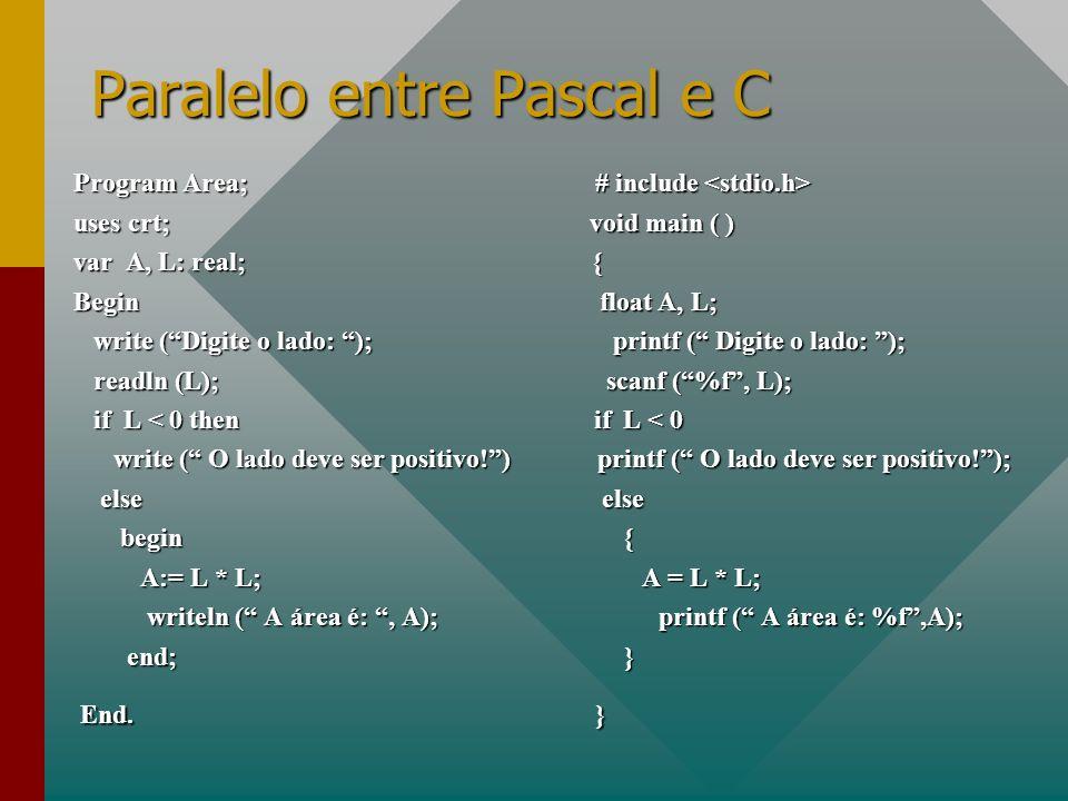 Paralelo entre Pascal e C