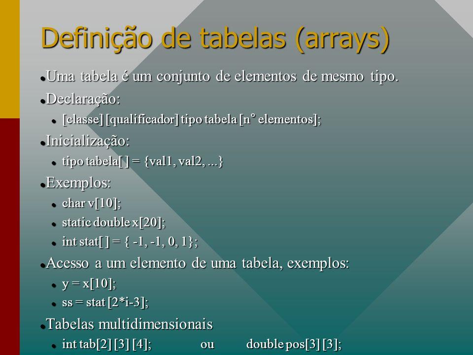 Definição de tabelas (arrays)