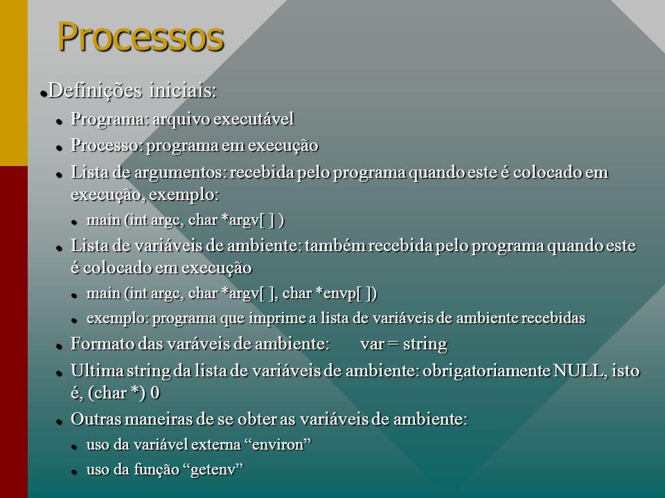 Processos Definições iniciais: Programa: arquivo executável