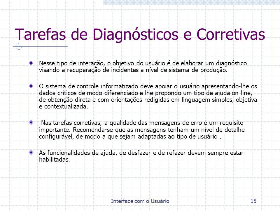 Tarefas de Diagnósticos e Corretivas