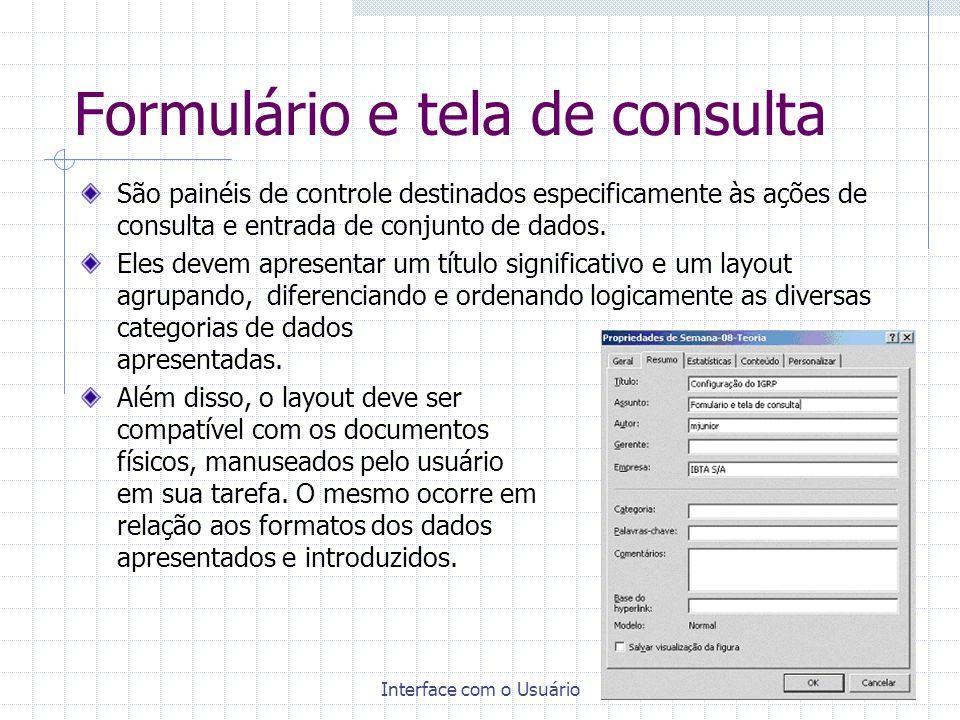 Formulário e tela de consulta