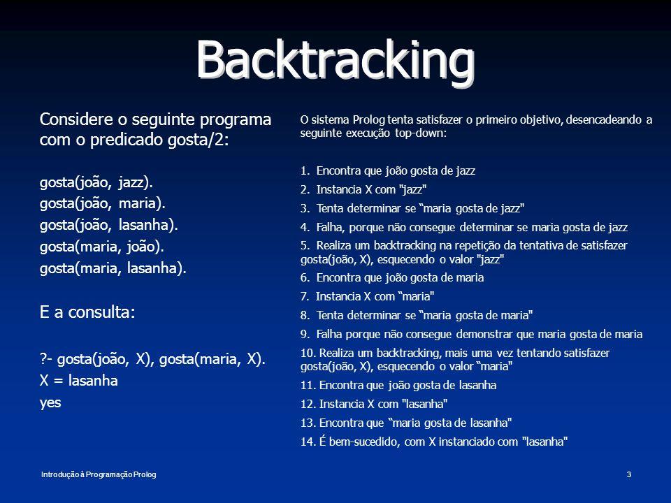 Backtracking Considere o seguinte programa com o predicado gosta/2: