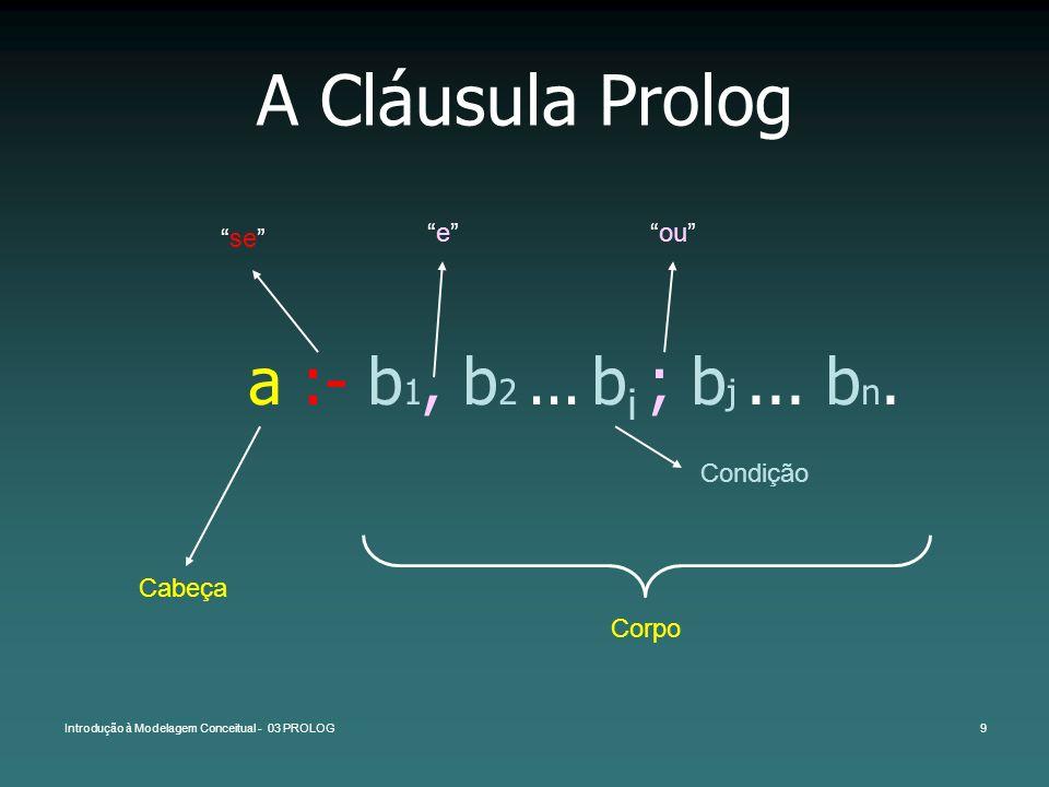 A Cláusula Prolog a :- b1, b2 ... bi ; bj ... bn. se e ou