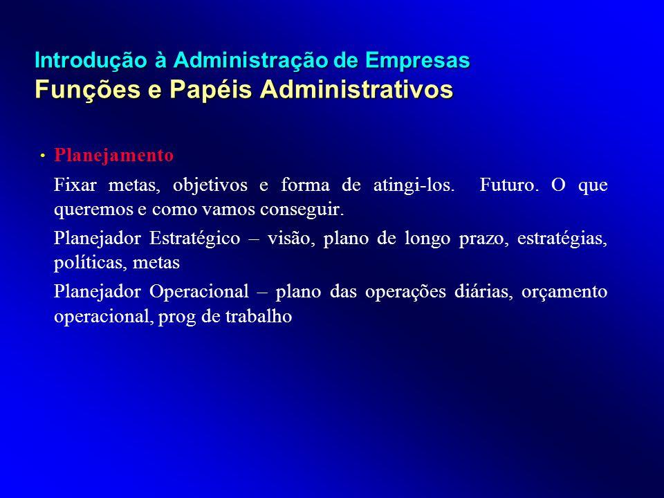 Introdução à Administração de Empresas Funções e Papéis Administrativos