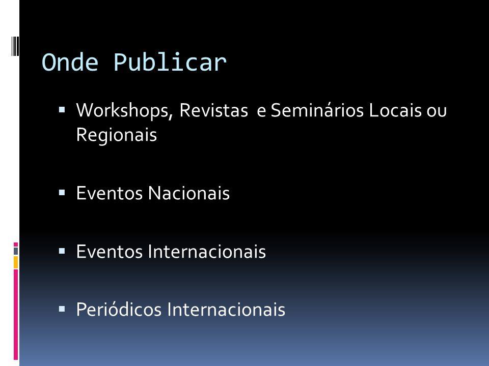 Onde Publicar Workshops, Revistas e Seminários Locais ou Regionais