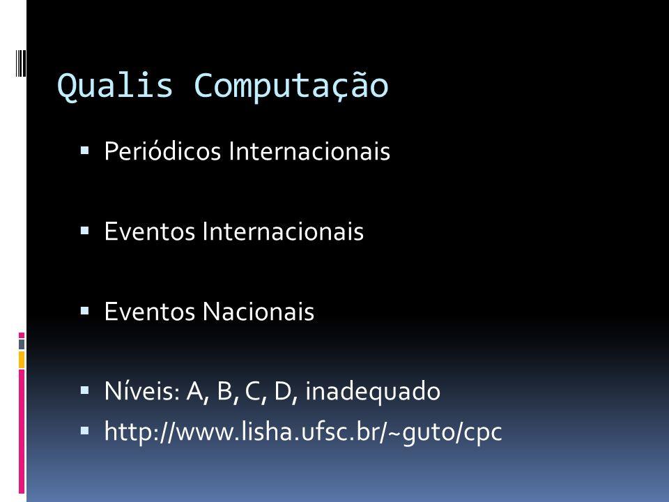 Qualis Computação Periódicos Internacionais Eventos Internacionais