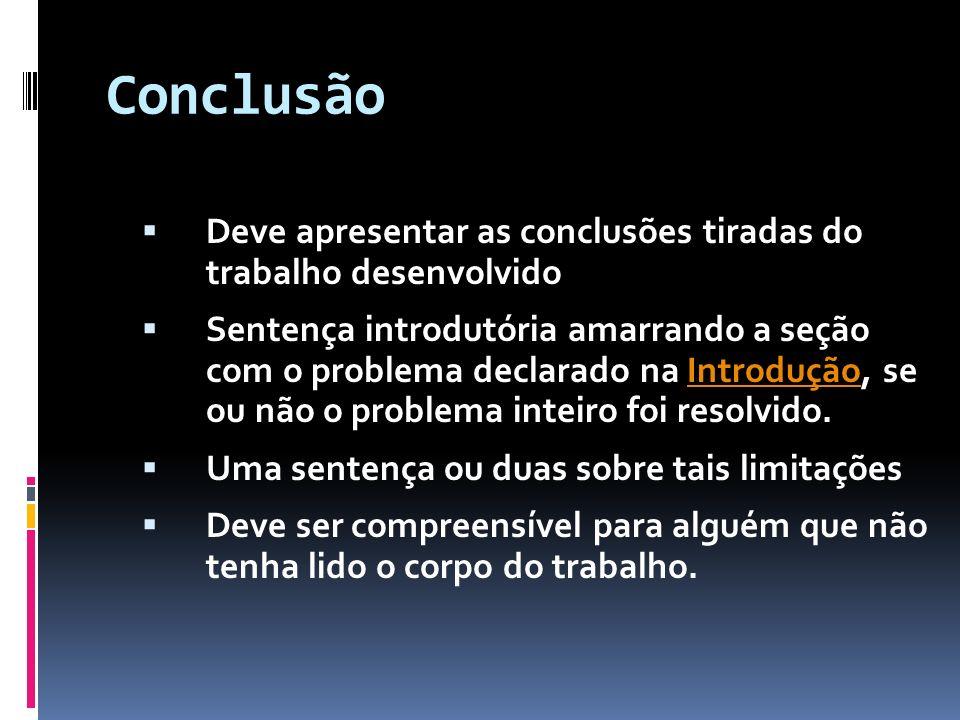 ConclusãoDeve apresentar as conclusões tiradas do trabalho desenvolvido.