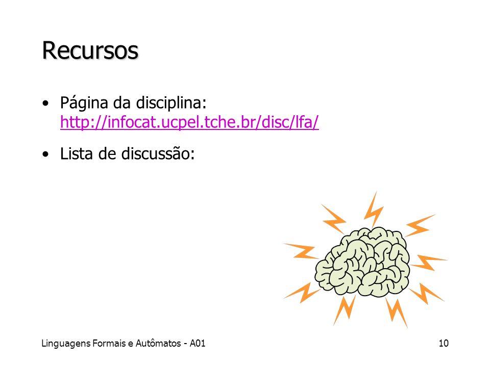 Recursos Página da disciplina: http://infocat.ucpel.tche.br/disc/lfa/