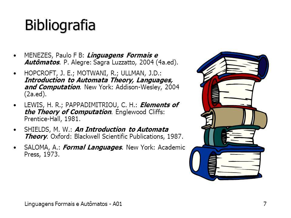 Bibliografia MENEZES, Paulo F B: Linguagens Formais e Autômatos. P. Alegre: Sagra Luzzatto, 2004 (4a.ed).