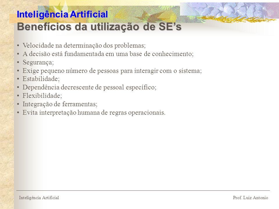 Inteligência Artificial Benefícios da utilização de SE's
