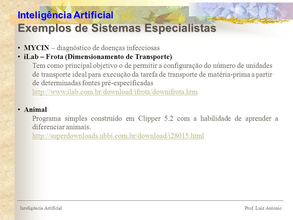 Inteligência Artificial Exemplos de Sistemas Especialistas
