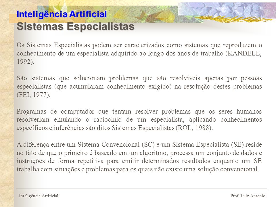 Inteligência Artificial Sistemas Especialistas