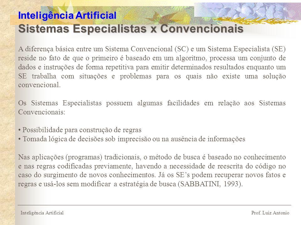 Inteligência Artificial Sistemas Especialistas x Convencionais