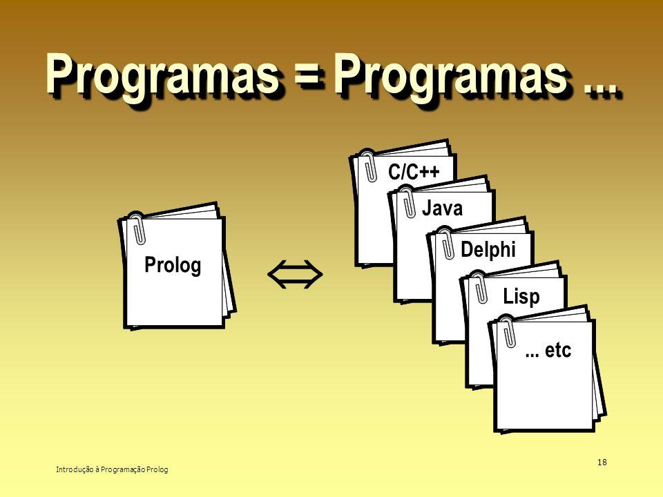 Programas = Programas ...  C/C++ Java Delphi Prolog Lisp ... etc