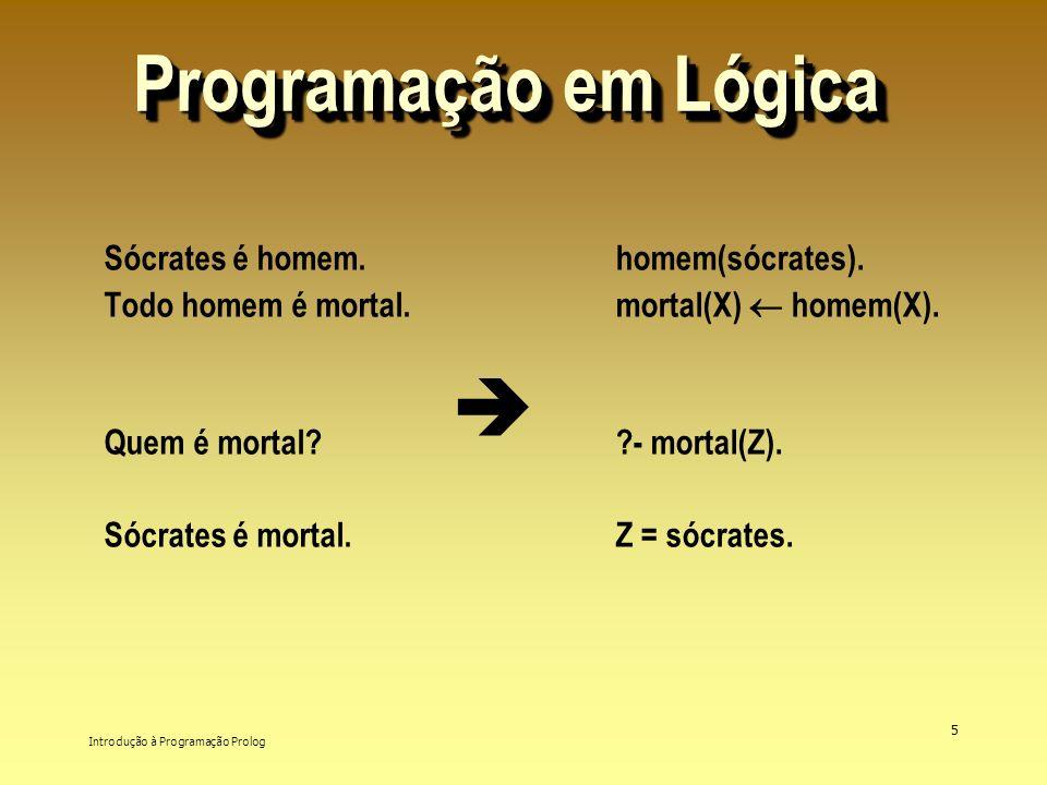 Programação em Lógica  Sócrates é homem. Todo homem é mortal.