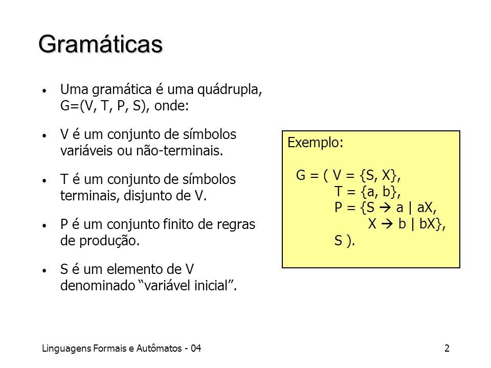 Gramáticas Uma gramática é uma quádrupla, G=(V, T, P, S), onde: