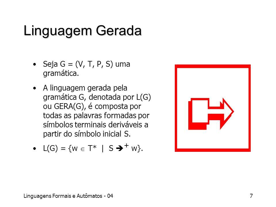 Linguagem Gerada Seja G = (V, T, P, S) uma gramática.