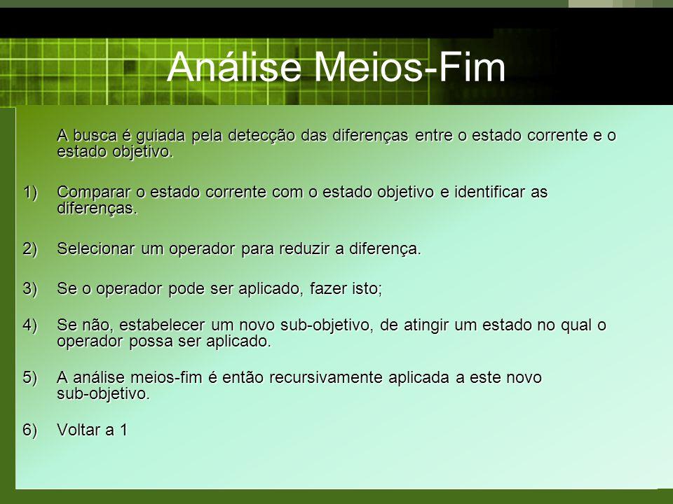 Análise Meios-Fim A busca é guiada pela detecção das diferenças entre o estado corrente e o estado objetivo.