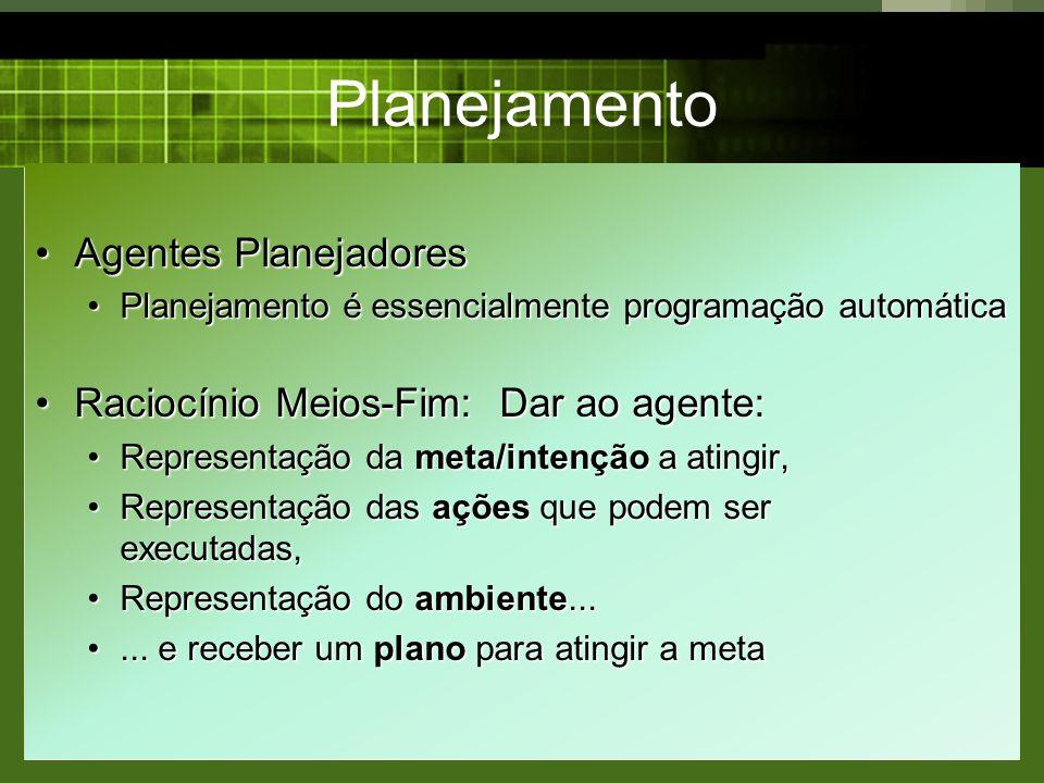 Planejamento Agentes Planejadores Raciocínio Meios-Fim: Dar ao agente: