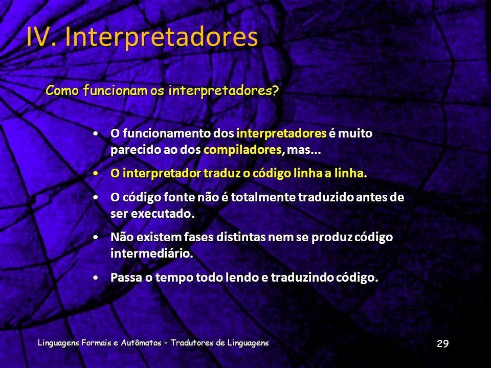 IV. Interpretadores Como funcionam os interpretadores