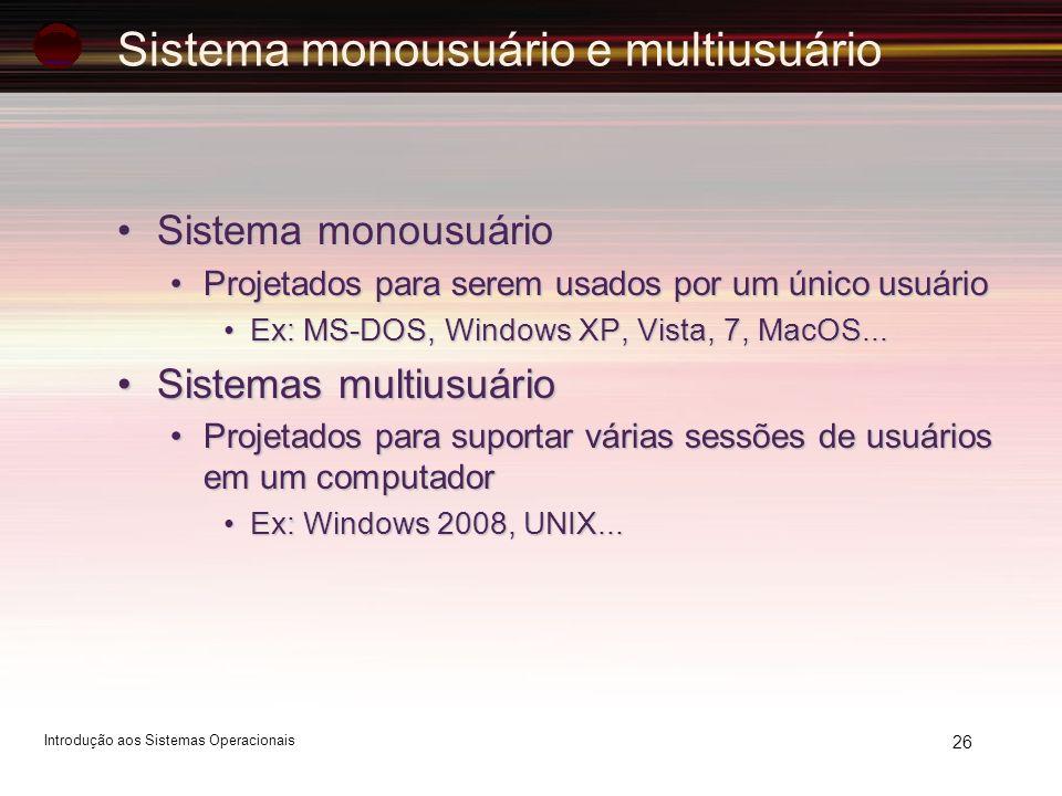 Sistema monousuário e multiusuário