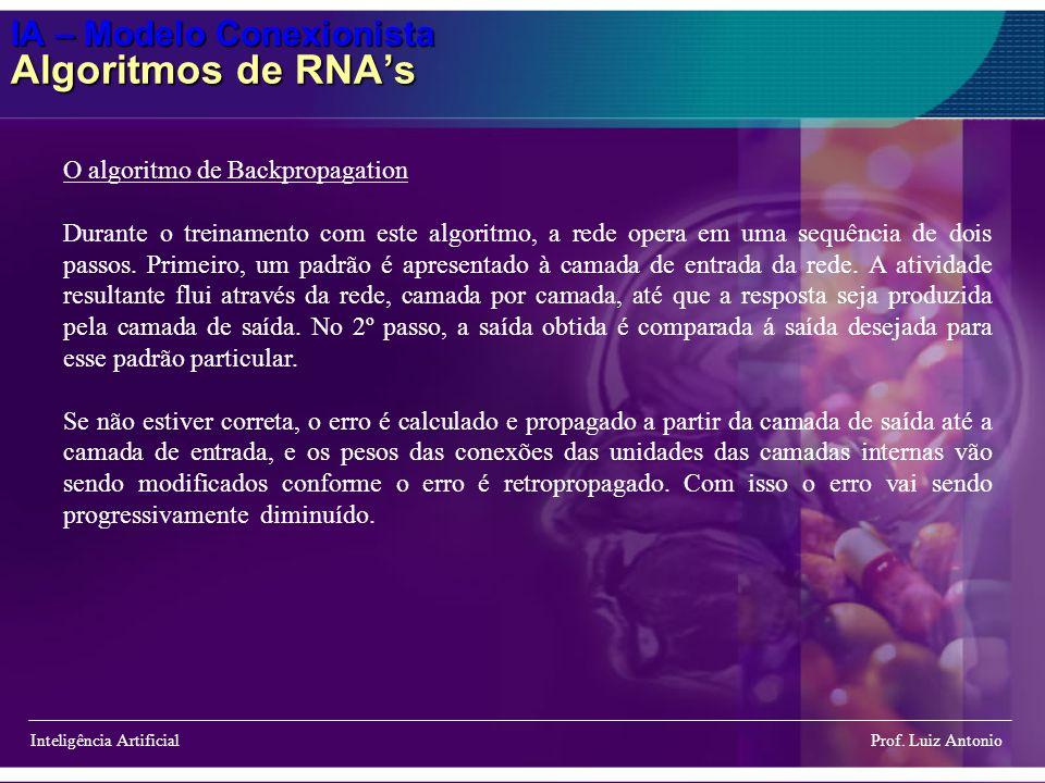 IA – Modelo Conexionista Algoritmos de RNA's