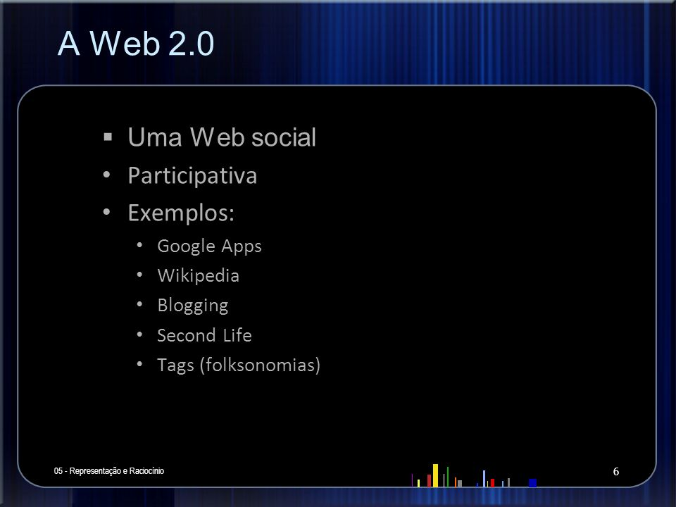 A Web 2.0 Uma Web social Participativa Exemplos: Google Apps Wikipedia