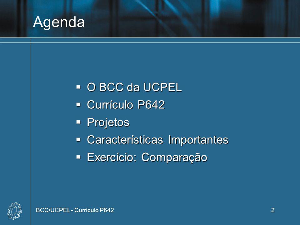 Agenda O BCC da UCPEL Currículo P642 Projetos