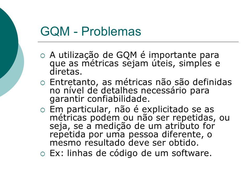 GQM - ProblemasA utilização de GQM é importante para que as métricas sejam úteis, simples e diretas.