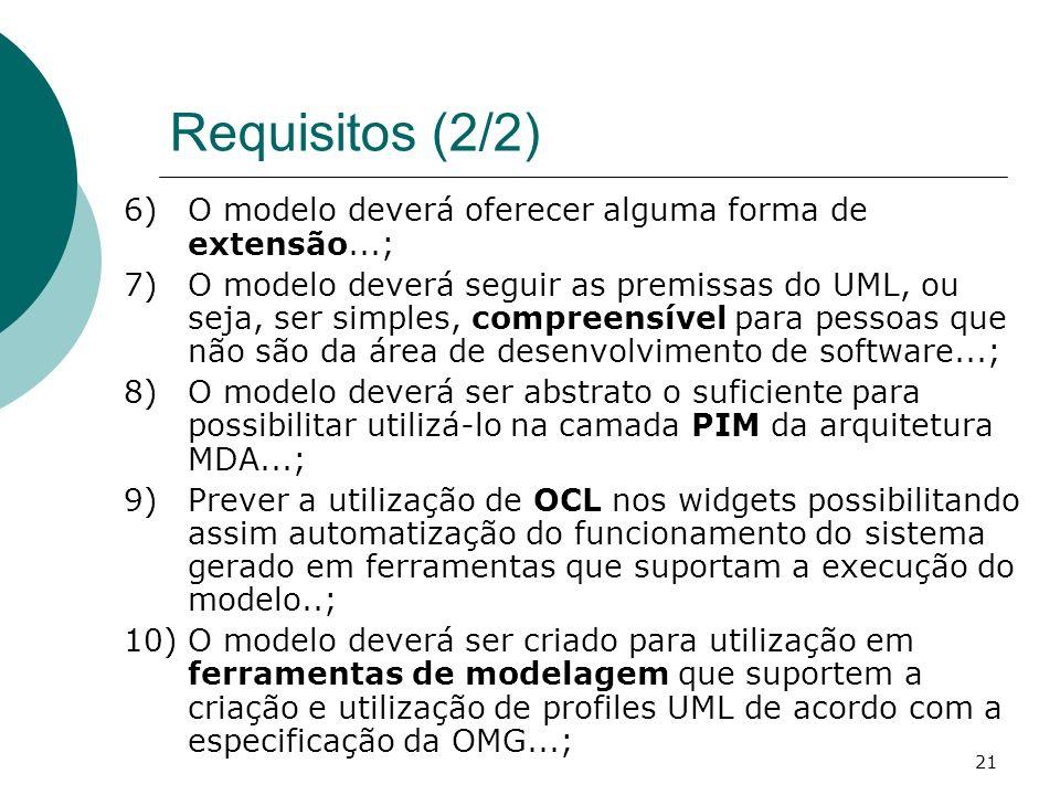 Requisitos (2/2) O modelo deverá oferecer alguma forma de extensão...;