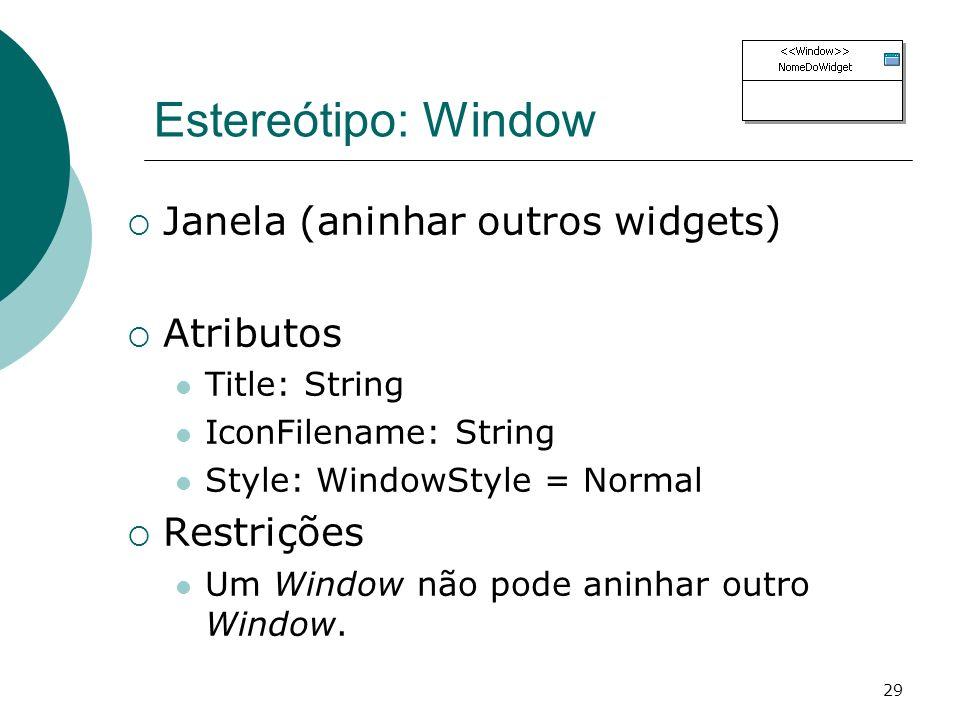 Estereótipo: Window Janela (aninhar outros widgets) Atributos