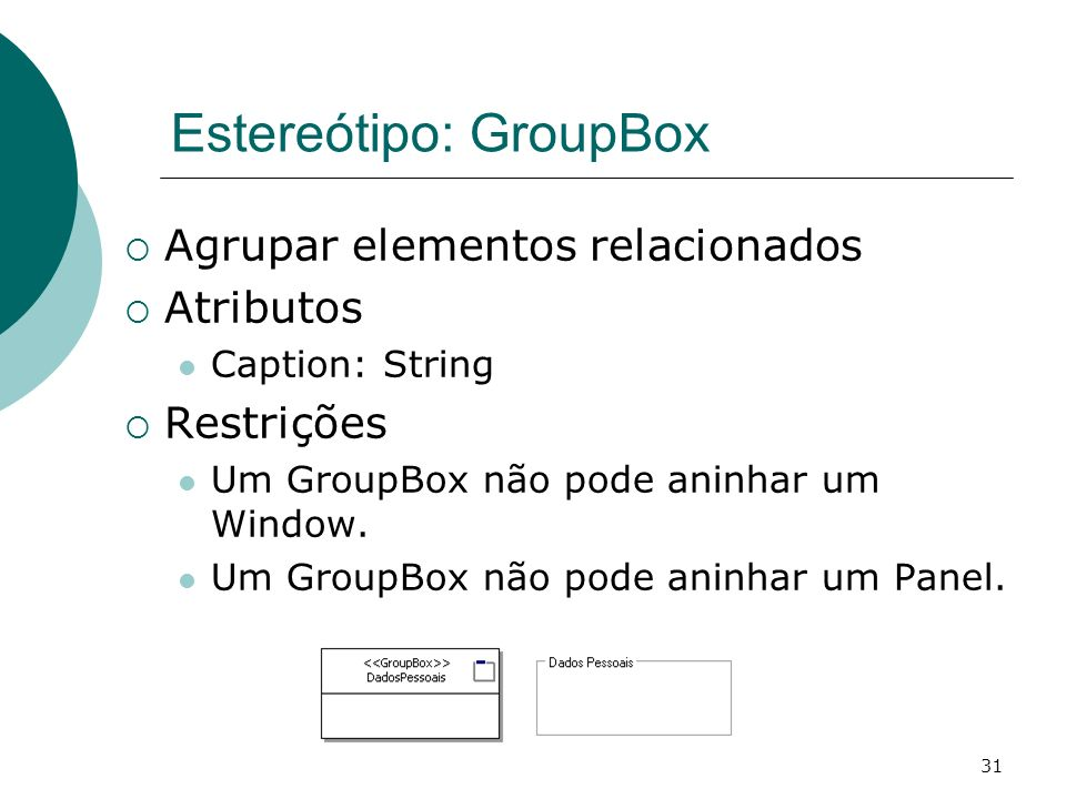 Estereótipo: GroupBox