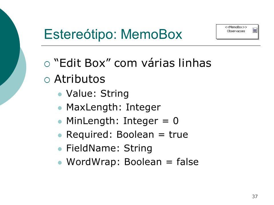 Estereótipo: MemoBox Edit Box com várias linhas Atributos