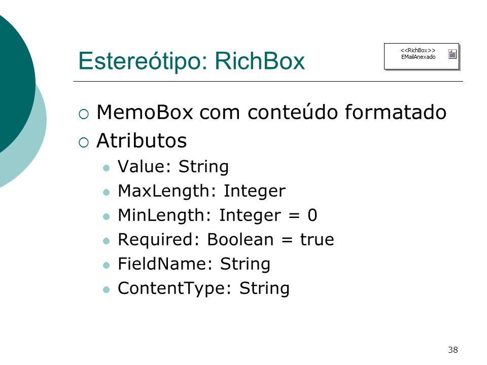 Estereótipo: RichBox MemoBox com conteúdo formatado Atributos