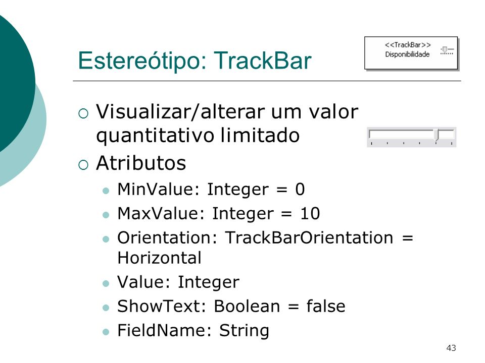 Estereótipo: TrackBar