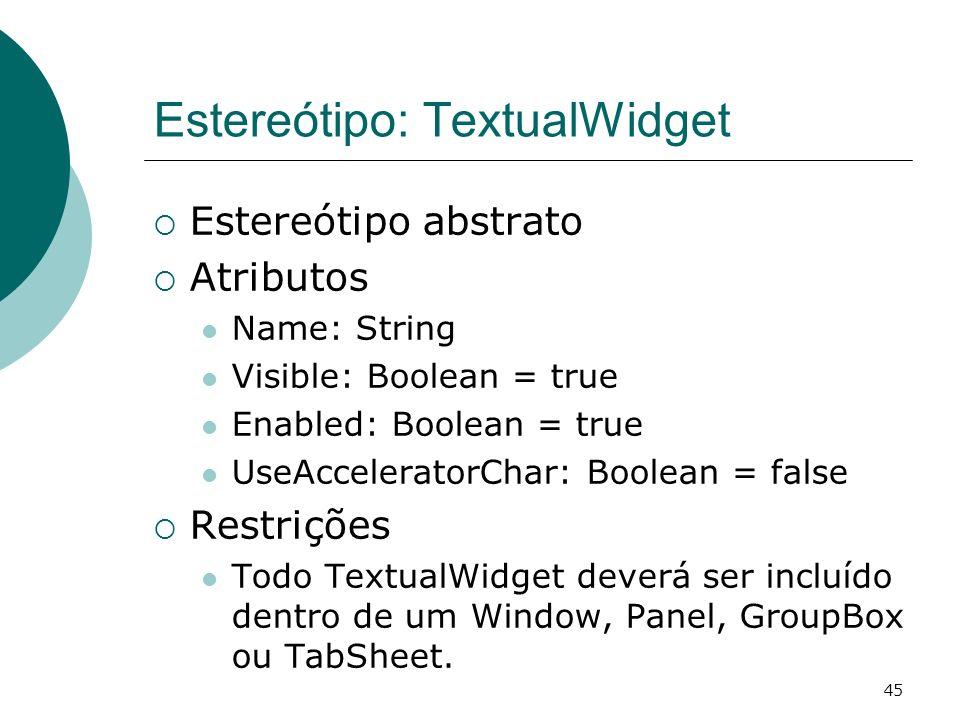 Estereótipo: TextualWidget