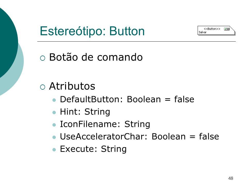 Estereótipo: Button Botão de comando Atributos