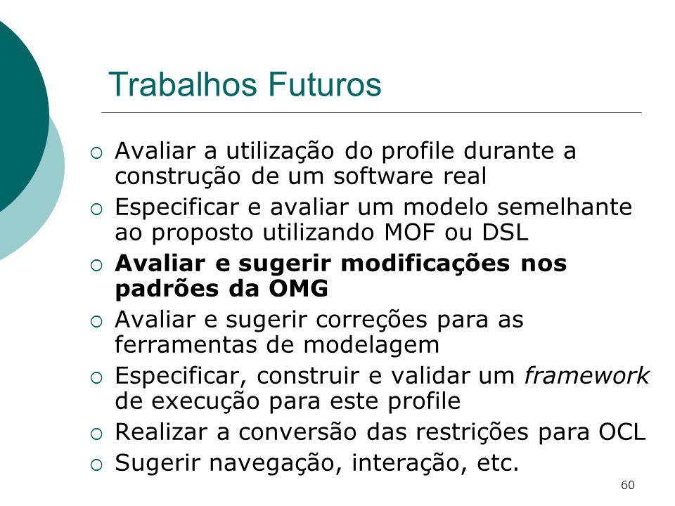 Trabalhos Futuros Avaliar a utilização do profile durante a construção de um software real.