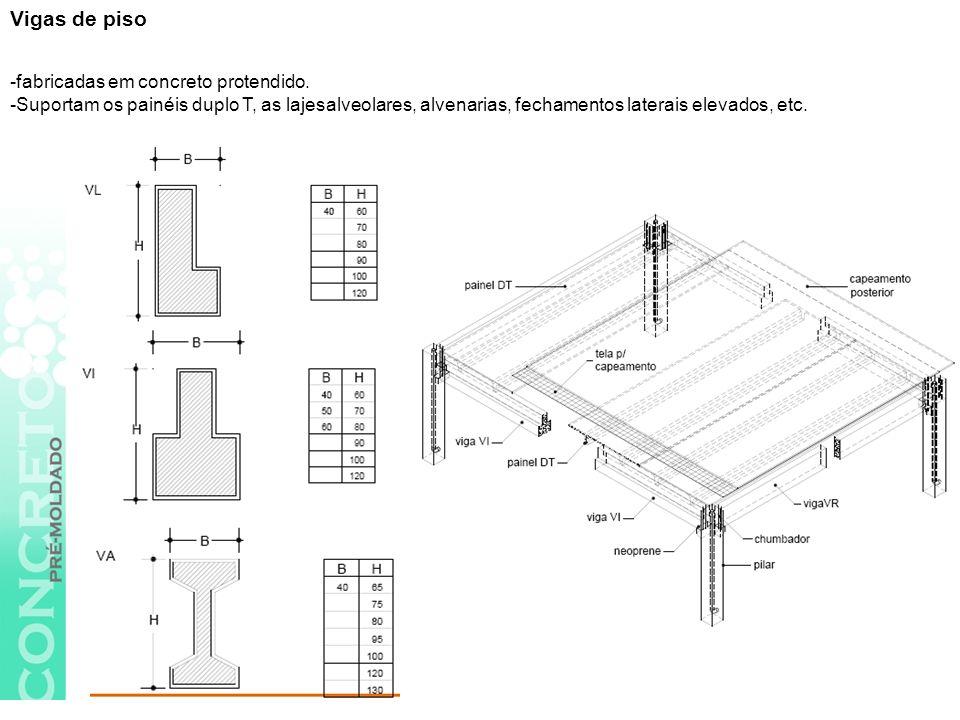 Vigas de piso -fabricadas em concreto protendido.